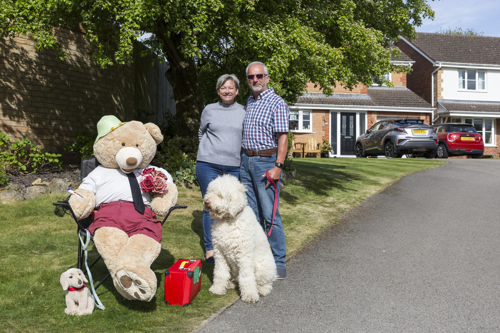 17 May 2020: Margaret and Bill and Barny the Dog, with their bear, in Shotley Bridge