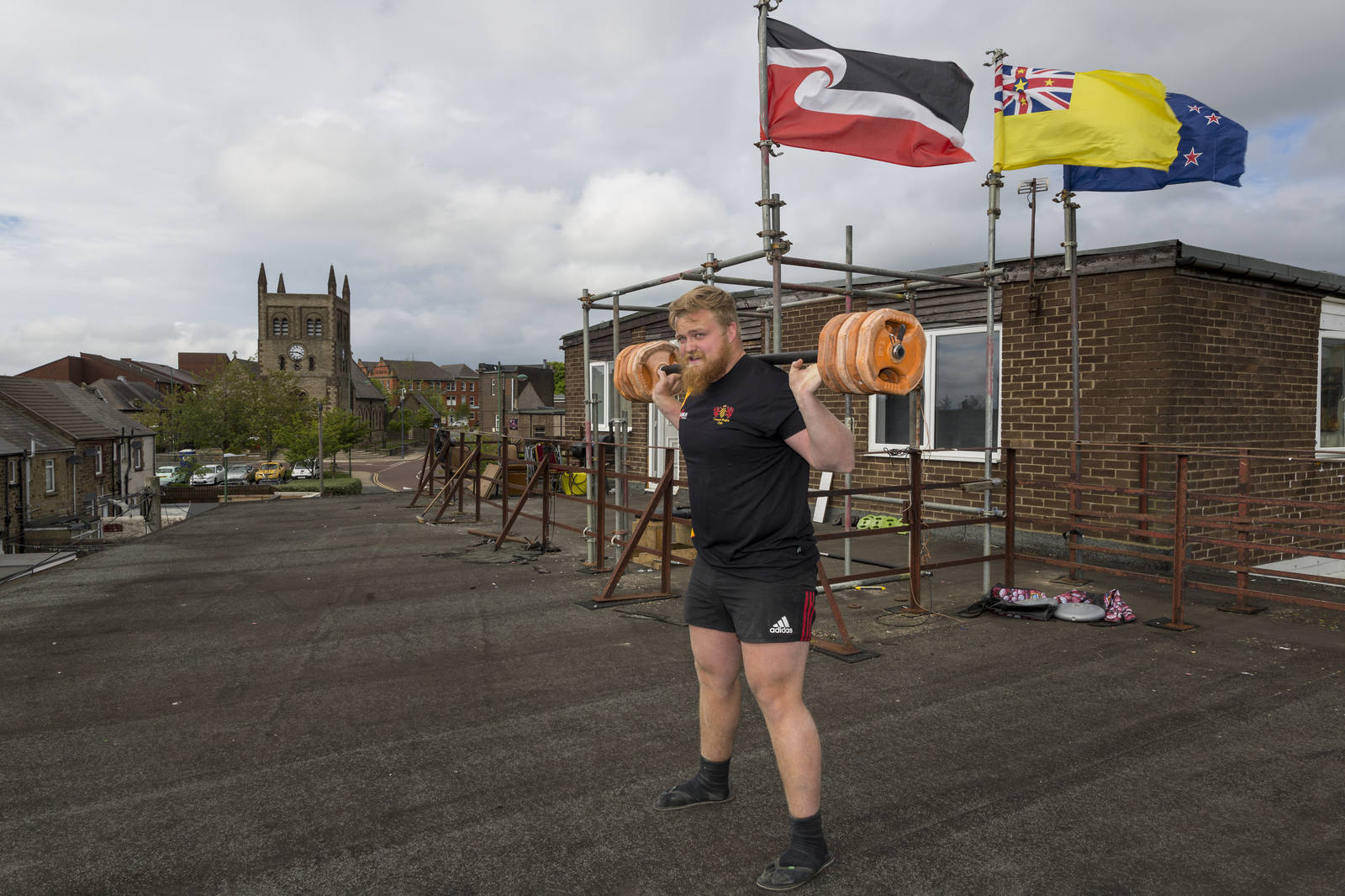19 May 2020: Graison Dale, New Zealand player, training on the roof of the Demi Club, Consett