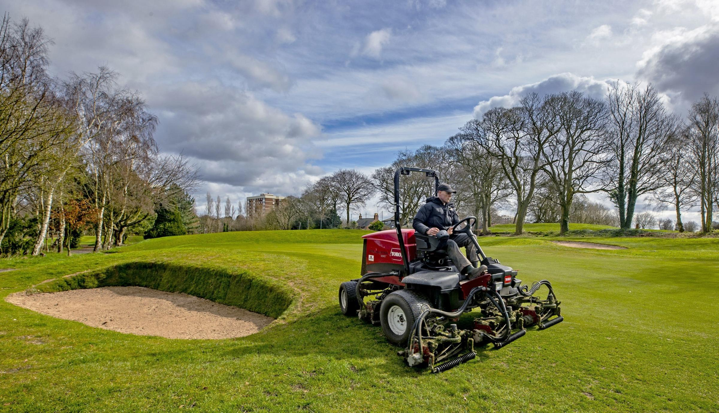 Green Keepers at Allerton Manor golf course in Liverpool prepare the course ahead of reopening on March 29 when further restrictions are eased in England's third national lockdown Picture: PETER BYRNE/PA