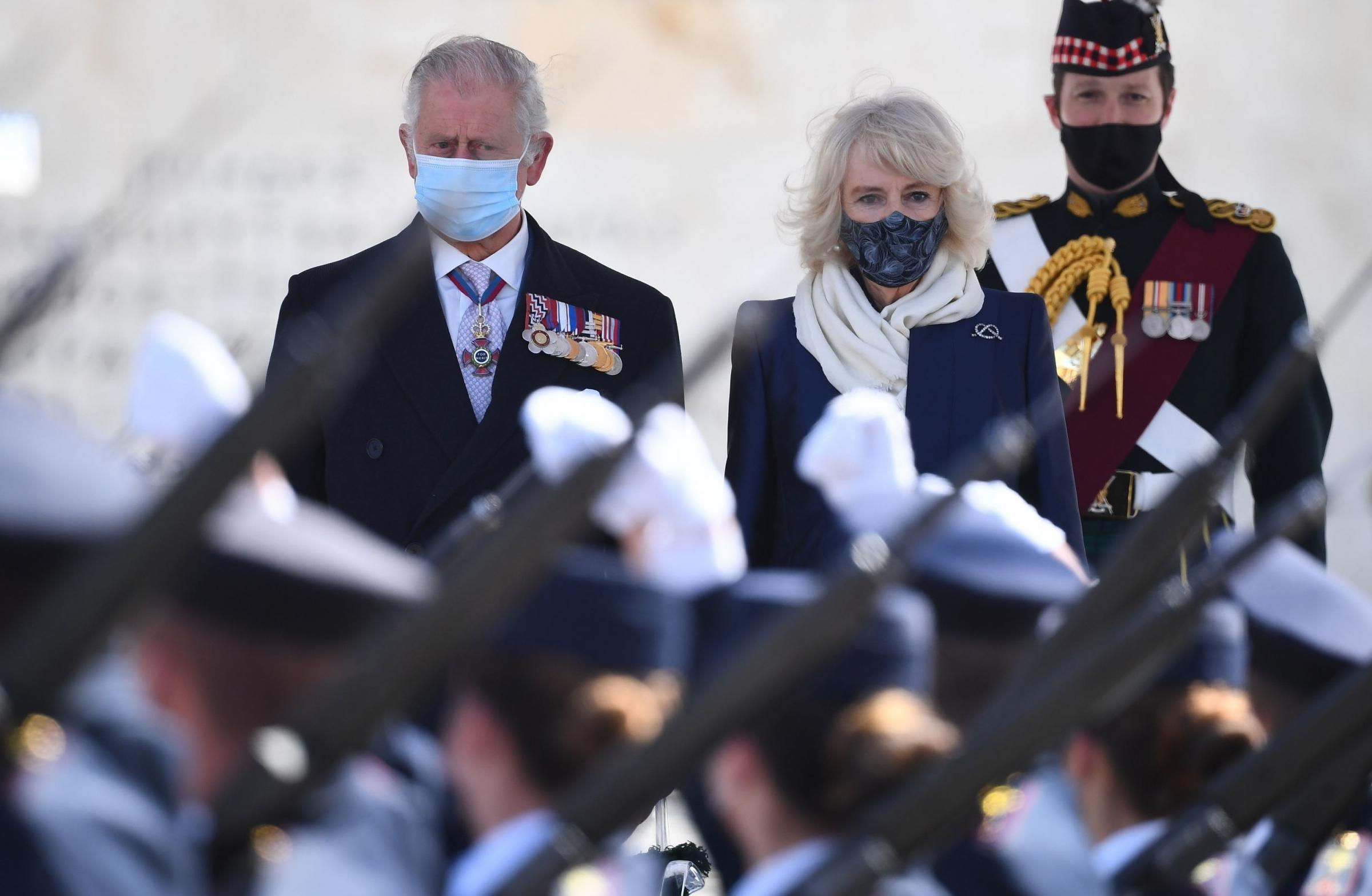 The Prince of Wales and the Duchess of Cornwall attending the Independence Day Military Parade in Syntagma Square, Athens, during a two-day visit to Greece to celebrate the bicentenary of Greek independence Picture: VICTORIA JONES/PA