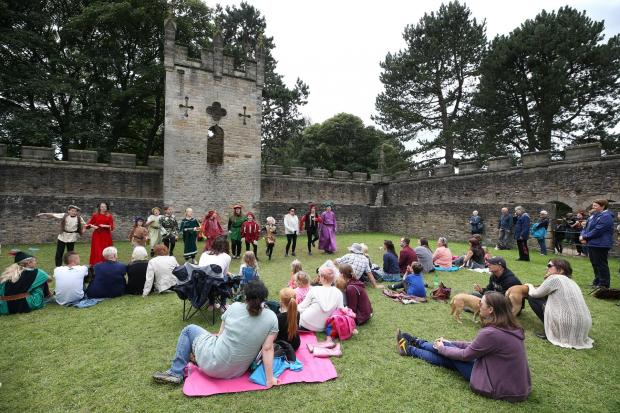 The Northern Echo: 2017 Summer school children put on a theatrical performance of 'The Legend of Scotland' in Auckland Castle Deer House, Bishop Auckland with the help of performers from Jack Drum Arts. Picture: CHRIS BOOTH