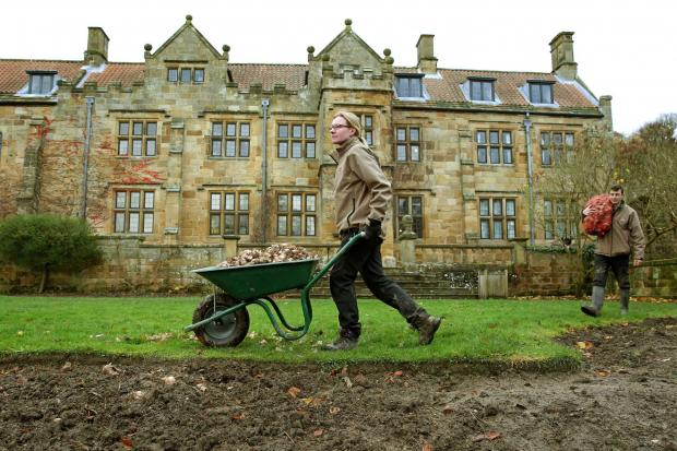 The Northern Echo: Gardeners Karen Greenwood and James Taylor prepare to plant some of the 27,000 bulbs at Mount Grace Priory. Picture: Richard Doughty Photography