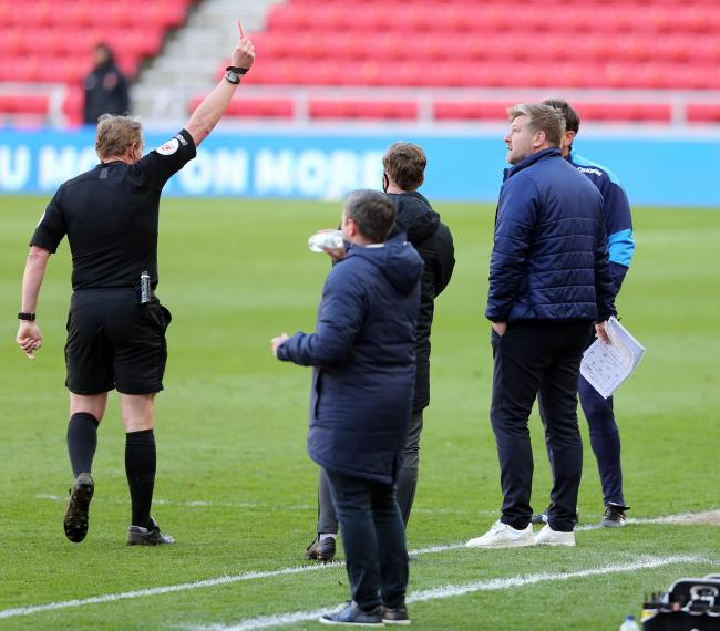 Referee Trevor Kettle sends Oxford boss Karl Robinson to the stands during Friday's game at the Stadium of Light