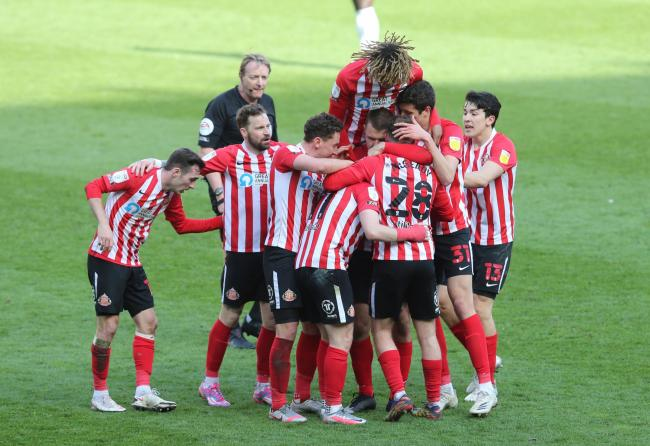 Sunderland's players celebrate after a goal during their Good Friday victory over Oxford United at the Stadium of Light