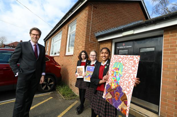 The Northern Echo: From left, students Juliette Johnson of Blyth, Northumberland. Ciara Hawe of Newcastle, and Bhava Raja of Newcastle with Dame Allan's principal Will Scott outside the building which will be demolished to make way for a new £8m investment project
