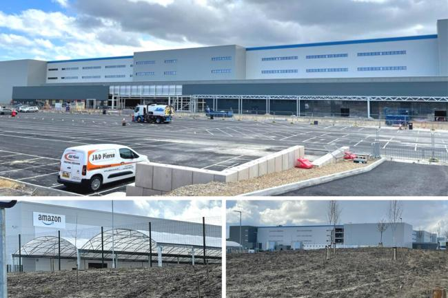 The new Amazon Gateshead warehouse under construction as signs have gone up at the nearby delivery station Pictures: JIM SCOTT
