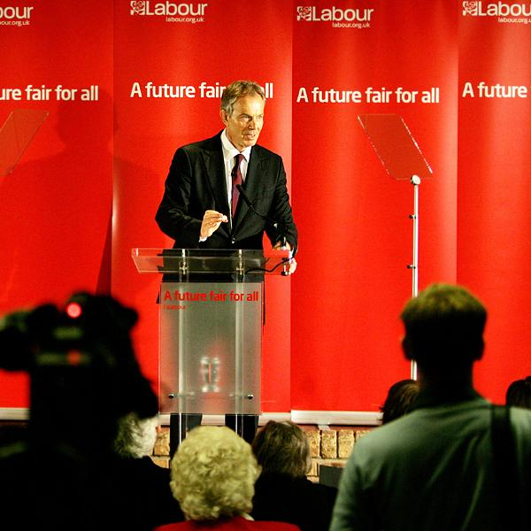 LABOUR OFFENSIVE: Tony Blair delivering his speech in Sedgefield yesterday. Picture: SARAH CALDECOTT