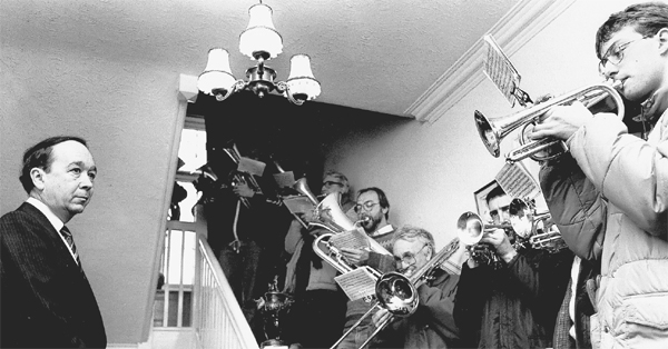 INAUGURAL CONTEST: Cockerton Prize Silver Band peform for Dr Ian Martin at his home on Christmas Day 1996
