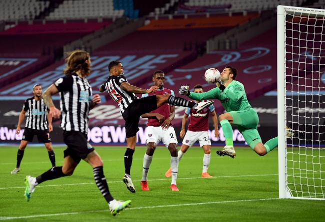 Callum Wilson scores Newcastle United's opening goal as they beat West Ham at the London Stadium in September