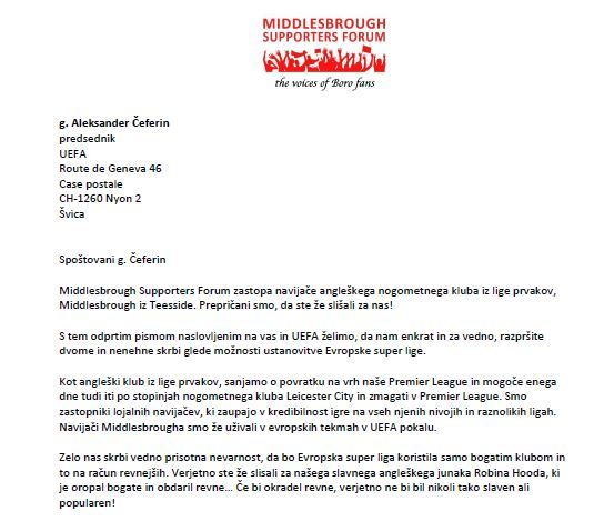 The Middlesbrough Supporters Forum was translated into Sloveneian for UEFA president Aleksander Ceferin