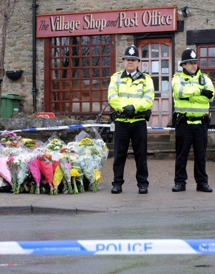 Police officers at the scene in Melsonby, North Yorkshire, where Diana Garbutt was killed by her husband            Picture: PAUL KINGSTON / NNP