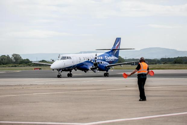 The Northern Echo: The first flight from Teesside Airport since lockdown left for Belfast today Picture: SARAH CALDECOTT