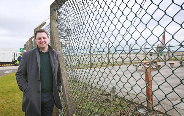The Northern Echo: Ben Houchen at the Viewing area at Teesside Airport Picture: SARAH CALDECOTT