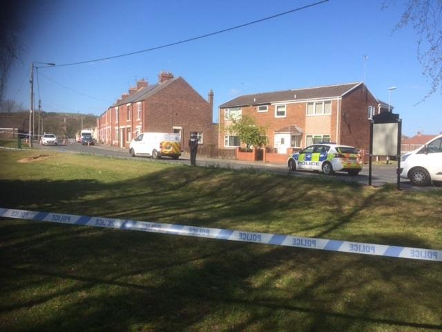 A police cordon around the Esh Winning crime scene, off Newhouse Road