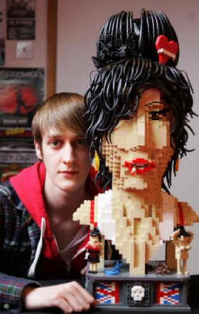 MODEL EXAMPLE: Justin Ramsden, 19, of who has made a bust of Amy Winehouse out of Lego bricks
