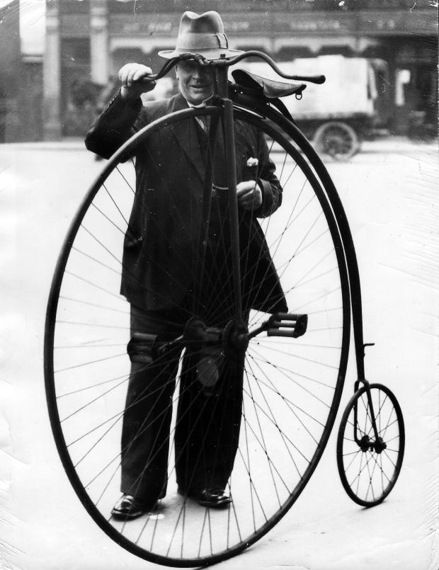 The Northern Echo: A fabulous penny farthing outside the museum in 1934