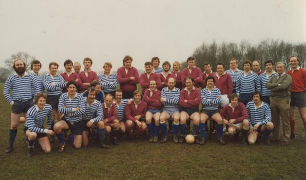 The Northern Echo: Dave Pike's starting game, Mowden Park XV v County Durham Select Back LR ?.  Neil Hunton, Jimmy Walton, Malcolm Harvey,?. Jim McManners, Doug Milner, Tom Miller, Colin Hogg,?, John Widdall, John Crowther, Keith Baggs, Tommy Urwin, George Zissler,