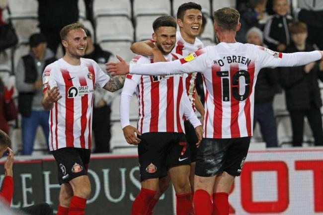 Leon Dajaku nets Sunderland's fifth goal in their hammering win over Cheltenham.