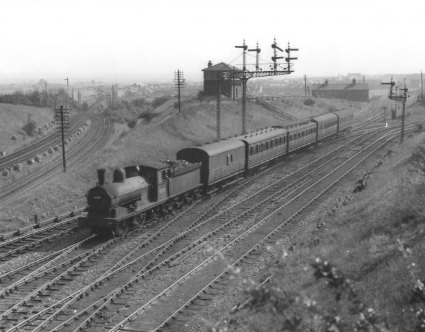 The Northern Echo: The confusion of the tracks in Relly, west of Durham, under the Deerness Valley Junction signal post.  We think this train might be heading to Bishop Auckland, but we could be wrong