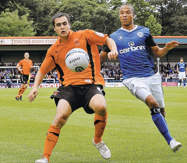 FEELING AT HOME: Left-back Evan Horwood on his debut at Rochdale last weekend