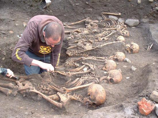 The Northern Echo: MASS GRAVE: A member of the study team examines the skeletons of men from Oliver Cromwell's besieging forces, found in a series of mass graves in York