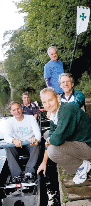 RIVER RETURN: Durham School's 1970 crew members, from left, David Sprague, Donald Aynsley, Nick Finlay, David Barratt and Richard Sinton are reunited