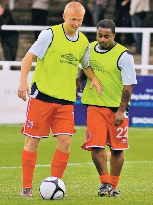 NO DEAL: Leon Knight, pictured during the warm-up for Saturday's draw at Bath City alongside Curtis Main, won't be signing for Darlington