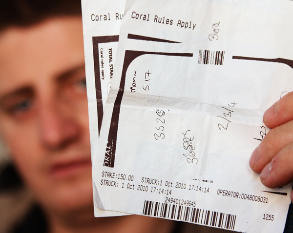 BET ROW: Gavin Boland with the betting slip he made out