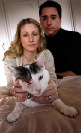 HORROR: Helen and James Arnott with Basil who lost an eye after being shot
