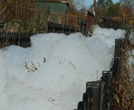 White out: foam in the River Skerne at Darlington. PHOTO: just-Menus.com