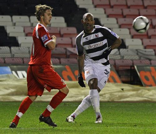 CONCENTRATION: Darlington's Jefferson Louis and Tamworth's Scott Barron focus on the ball