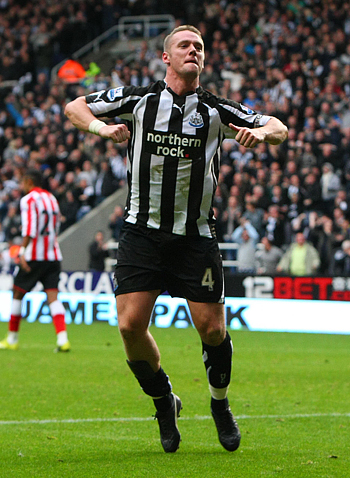 SONG AND DANCE: Nolan celebrates in his trademark style after scoring against Sunderland at St James' Park
