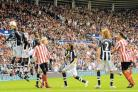 CAREER HIGHLIGHT: Kieran Richardson (right) strikes his winning goal in the 2008 derby at the Stadium of Light