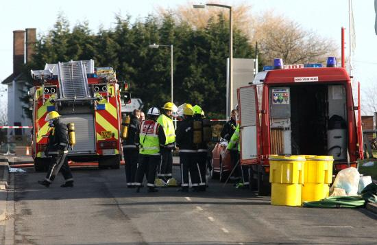 CHEMICAL LEAK: Emergency services at the 3M factory in Standard Way, Northallerton