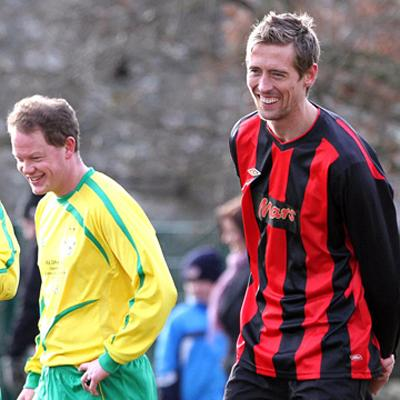 Peter Crouch during filming in Carperby