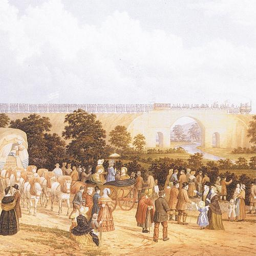 WHERE IT ALL BEGAN: John Dobbin's painting of Locomotion crossing the Skerne at the opening of the Stockton and Darlington Railway in 1825