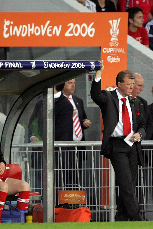 FINAL GAME: Steve McClaren looks on as his Boro side are dismantled 4-0 in the UEFA Cup final at Eindhoven.