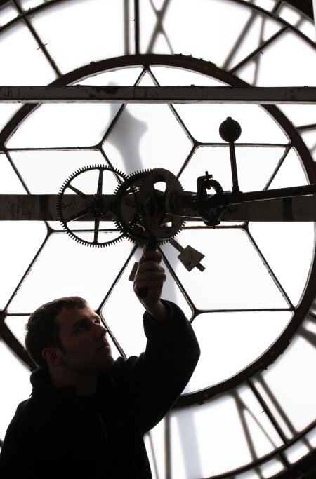 Matthew Warburton an  Engineer from Smith of Derby fixing Darlington's town clock.