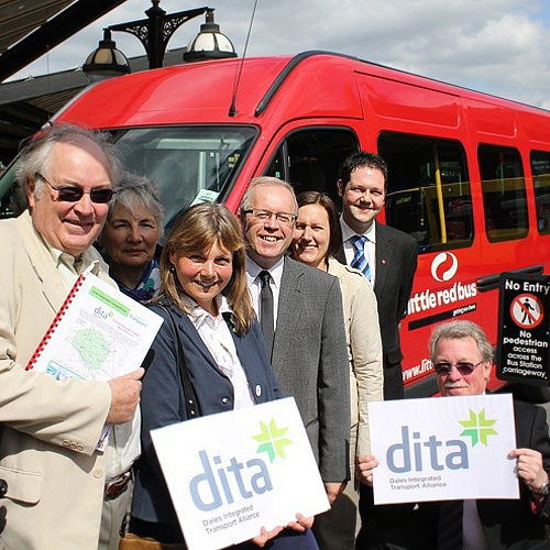 BUS BID: From left, John Carr, of DITA, Ingrid McLaughlin, of Harrogate Friends of the Earth, Helen Flynn, of DITA, Clive Hopkinson, of Metro, Catriona Maclees, of Welcome to Yorkshire, Paul Hodgson, of TransDev, and Peter Fryer, of Little Red Bus.