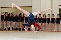 TIME FOR ACTION: Darlington Gymnastics Club, in Weir Street, last night. Pictured tumbling is Rachel Kilcran