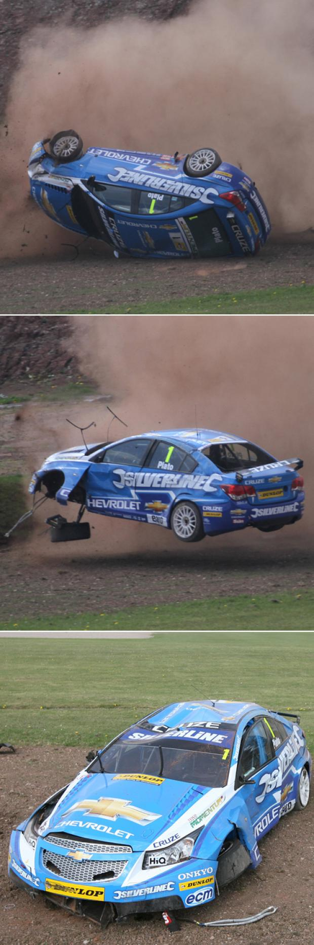 GETTING AWAY WITH IT: Plato comes to grief in Race Two at Donington Park.