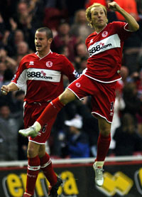 Middlesbrough Gaizka Mendieta leaps into the air as he celebrates scoring in t