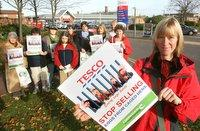 ANIMAL RIGHTS: Campaign organiser Kathy Barley with protestors outside Tesco, in Northallerton