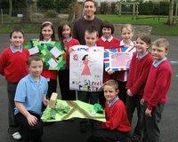 WARTIME MEMORIES: Schoolteacher Paul Tucker with some of the pupils from St Mary's school, in Barnard Castle, who are making  flags and banners for a party on Friday to mark the end of the Second World War