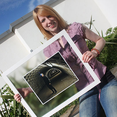 TUNNEL VISION: Lucinda Grange with one of her images outside Christ Church Gallery, Church Square, Hartlepool.