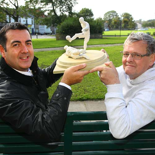 STEP CLOSER: Councillors Rob Yorke, left, and Andy Turner with a model of the proposed statue intended for West Auckland