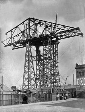 The Northern Echo: The Middlesbrough leg of the Transporter Bridge under construction.