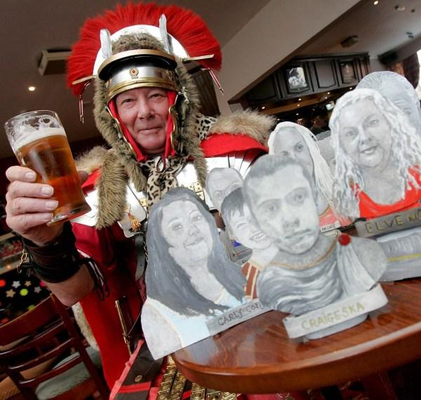 JOB DONE: Tony Jose with some of the busts he has created at the Last Orders