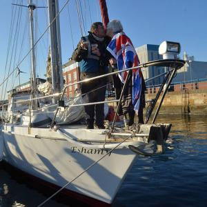 HOME AGAIN: Jeffrey Allison is reunited with wife Prue at Hartlepool Marina