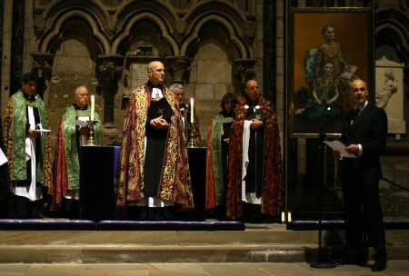 Scottish campaigner George Wilson, right, speaks in the Chapel of Nine Altars, in Durham Cathedral yesterday